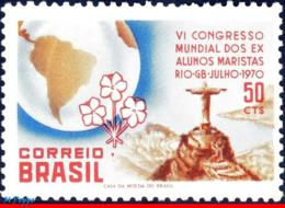Ref. BR-1170 BRAZIL 1970 RELIGION, 6TH WORLD CONG. OF MARIST, BROTHERS, CORCOVADO, MAPS, MI# 1262,MNH 1V Sc# 1170 - Brasilien