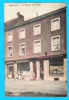CPA WAREMME : Maison Du Peuple Et Magasin Cartes Postales Frémal-Charlier, Couleurs, Circulée En 1909 - 2 Scans - Waremme