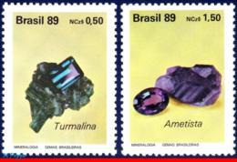 Ref. BR-2198-99 BRAZIL 1989 GEOLOGY, CUT AND UNCUT GEMSTONES,, MI# 2312-13, SET MNH 2V Sc# 2198-2199 - Geologia