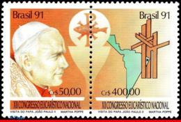 Ref. BR-2330A BRAZIL 1991 RELIGION, 12TH NATL. EUCHARISTIC, CONGRESS, POPE VISIT, MI# 2429-30, MNH 1V Sc# 2330A - Papi