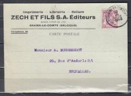 Kaart Van Braine Le Comte Naar Bruxelles - 1935-1949 Petit Sceau De L'Etat