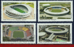 Ref. BR-3012-15 BRAZIL 2007 ARCHITECTURE, FOOTBALL/SOCCER STADIUMS, SPORT - SET MINT MNH 4V Sc# 3012-3015 - Brasile
