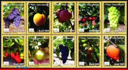 Ref. BR-3089 BRAZIL 2009 FRUITS, EXPORT PRODUCTS, MERCOSUR, SERIES, RURAL TOURISM, SET MNH 10V Sc# 3089 - Neufs