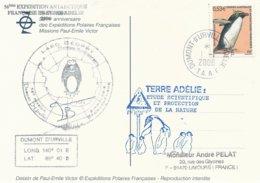 TAAF - Dumont D'Urville-T.Adélie: Carte Illustrée PE Victor Avec Timbre N°449 Gorfou Macaroni - 01/01/2006 - Franse Zuidelijke En Antarctische Gebieden (TAAF)
