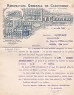 384885F. GRATIEUX, Manufacture De Caoutchouc, 2 Lettres Juin/août 1916 - Frankrijk