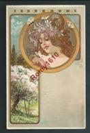 """""""Les Quatre Saisons"""" Série Très Rare, Complète. Art Nouveau Style Mucha. Lithographies Künzli. Recto/verso - Illustrateurs & Photographes"""