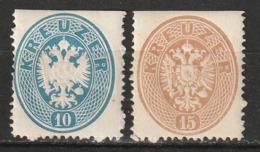 Autriche N° 25 Et 26 *, Dent. 14 Voir Scan Et Description - 1850-1918 Impero