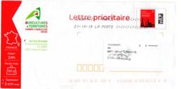 PAP Lettre Prioritaire Rouge Monuments  20g France En-tête Chambre Agriculture De La Creuse 142687A - Postwaardestukken