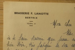 Brouwerij Brasserie Lanotte Bertrix 1945 Reklamekaart - Bier