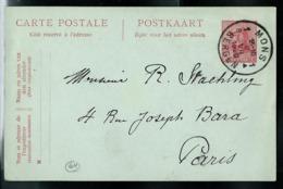 Carte Obl. N° 64 Obl. MONS  1 B  - BERGEN 02/7/1920  Pour Paris - Cartes Postales [1909-34]