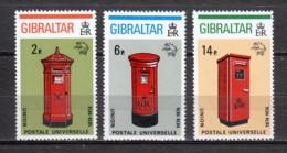 Gibraltar 1974 Mi 310-312A MNH MAILBOXES - UPU - Gibraltar