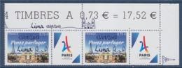 = Paris Jeux Olympiques 2024 Venez Partager Surchargé 13/09/2017 LIMA 0.73€ 2 N°5144A Neuf Vignette Tour Eiffel Stylisée - Neufs