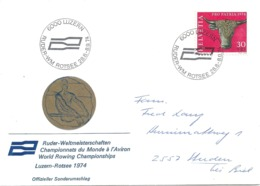 """Sonderbrief  """"Ruder WM Rotsee, Luzern""""            1974 - Switzerland"""