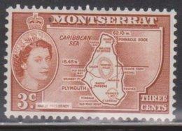 MONTSERRAT Scott # 131 MH - QEII & Map - Montserrat