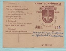 Carte Confédérale CGT 1956 Outre Mer Intersyndicat Des Fonctionnaires Et Agents De La F.P Du Cameroun Daoula Postes Tele - Vieux Papiers