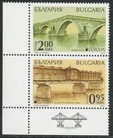 "BULGARIA/ BULGARIE/ BULGARIEN -EUROPA 2018 -""PUENTES.- BRIDGES - BRÜCKEN - PONTS"" -  SERIE De 2 V + Viñeta Tipo A - 2018"