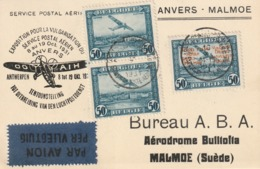 PA1 + PR33 ANVERS MALMÖ (SUEDE) / SERVICE POSTAL AERIEN 8-9/10 1931 - Poste Aérienne