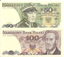 POLOGNE 50-100 Zlotych 1986-88 UNC P 142 C-143 E ( 2 Billets ) - Polonia