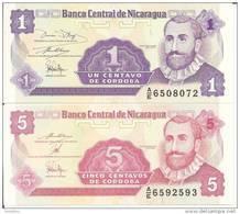 NICARAGUA 1-5 CORDOBAS ND1991 UNC P 167-168 ( 2 Billets ) - Nicaragua