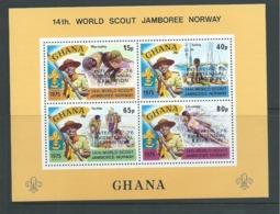Ghana 1976 Interphil Overprint On Boy Scout Jamboree Miniature Sheet MNH - Ghana (1957-...)