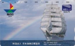 Carte Prépayée Japon - BATEAU VOILIER ** Cocotte **  & ARC EN CIEL - SAILING SHIP & RAINBOW Japan Tosho Card - 141 - Bateaux