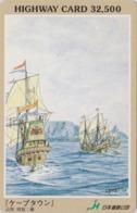 Carte Prépayée Japon - Série  Peinture 3/5 - BATEAU VOILIER ** CAPE TOWN ** SAILING SHIP Japan Prepaid Card - HW 151 - Boats