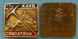 USSR Badge Soviet Union Tajikistan Medicine Medical Mountaineering. Mountain Rescue Club. Red Cross 1970-80s - Geneeskunde