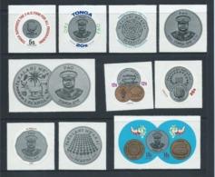 Tonga 1975 FAO / Platinum Coin Self Adhesive Set 10 MNH - Tonga (1970-...)