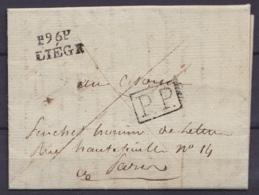 """L. Datée 3 Fructidor An 9 (1800) Expédiée En Port Payé à PARIS - Griffe """"P96P / LIEGE"""" - Griffe De Rappel [P.P.] à Paris - 1794-1814 (French Period)"""