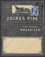 "L. Papier Calque ""Usine Pipe"" (automobile) Affr. N°76 Càd BRUXELLES (NOORD) /18 X 1911/ BRUXELLES (NORD) - 1905 Breiter Bart"