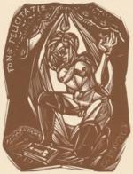 Ex Libris Fons Felicitatis (Ex Eroticis) - Remo Wolf (1912-2009) Houtsnede - Ex-Libris