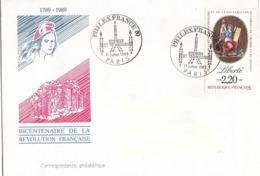 France, Enveloppe, Cachet Philexfrance 11 Juillet 1989, Thème Sciences Et Techniques, Timbre Liberté - Franz. Revolution