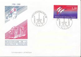 France, Enveloppe, Cachet Philexfrance 10 Juillet 1989, Thème Espace, Timbre Folon - Franz. Revolution