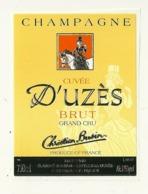 30 UZES 51 VERZENAY ETIQUETTE CHAMPAGNE CUVEE  D'UZES GRAND CRU CAVALIERE CHEVAL EQUITATION PUBLICITE GARD MARNE - Champagne