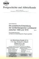 Postalisch Entwicklung Der Landespost In Württemberg - Von Horst Diederichs  (DASV) PgA 194 Aus 2015 - Postgebühren