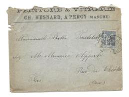 DOCUMENT Commercial ENVELOPPE De 1898.. Peinture & Vitrerie, CH. HESNARD à PERCY (Manche 50) - Francia