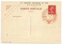 ENTIER 90C SEMEUSE ROUGE CP REPIQUAGE EXPO PHIL NICE 11.4.1931 - Ganzsachen