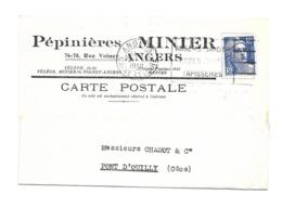 DOCUMENT Commercial CARTE POSTALE De 1950..Pépinières MINIER, Rue Volney à ANGERS ( Maine Et Loire 49) - Francia