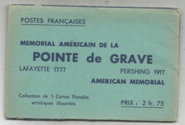 POCHETTE COMPLETE 5 CARTES ENTIER POINTE DE GRAVE MEMORIAL AMERICAIN USA - Standard Postcards & Stamped On Demand (before 1995)