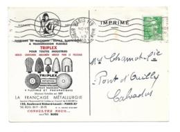 DOCUMENT Commercial CARTE POSTALE 1949..Fabrique De Machines TRIPLEX, La Française Métallurgie à PARIS XIe - Francia