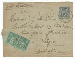 ENTIER SAGE 15C ENVELOPPE +5CX2 LORIENT MORBIHAN 16 OCT 1891 A BORD DU CALEDONIEN MESSAGERIES MARITIMES SAIGON COCHINCHI - Postmark Collection (Covers)