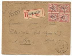 MAROC MOUCHON 10CX4 LETTRE REC C. PERLE GUERCIF 16.4.1917 MAROC POUR ALGERIE - Lettres & Documents