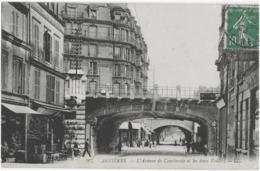 ASNIERES - L'AVENUE DE COURBEVOIE ET LES DEUX VOUTES - BELLE ANIMATION - 1923 - Asnieres Sur Seine