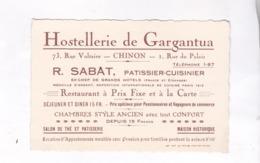 PUB  CARTE DE VISITE HOSTELLERIE DE GARGANTUA A CHINON - Publicités