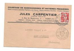 DOCUMENT Commercial CARTE POSTALE 1952...Courtage De Marchandises Jules CARPENTIER, Rue De Monttessuy à PARIS 7e - 1950 - ...