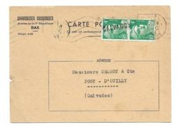 DOCUMENT Commercial CARTE POSTALE 1948..Chaussures DACQUOISES, Avenue De La IVe République à DAX ( 40) - France