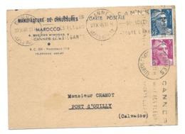 DOCUMENT Commercial CARTE POSTALE 1948..Manufacture De Chaussures, MAROCCO, Rue Des Mimosas à CANNES (06) - France
