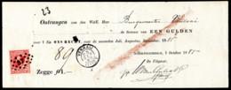 "NTH SC #25 U 1872 K William III W/""57"" On Receipt W/SON ""VENRAIJ/23 SEP 85"" CV $1.60 - Period 1852-1890 (Willem III)"