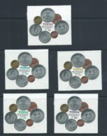 Tonga 1977 King's Coronation Anniversary & Coinage Self Adhesive Set 13 MNH - Tonga (1970-...)