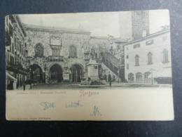19968) BERGAMO BIBLIOTECA CIVICA E MONUMENTO A GARIBALDI VIAGGIATA 1901 AMBULANTE TIMBRO AMBULANTE BERGAMO TREVIGLIO CRE - Bergamo